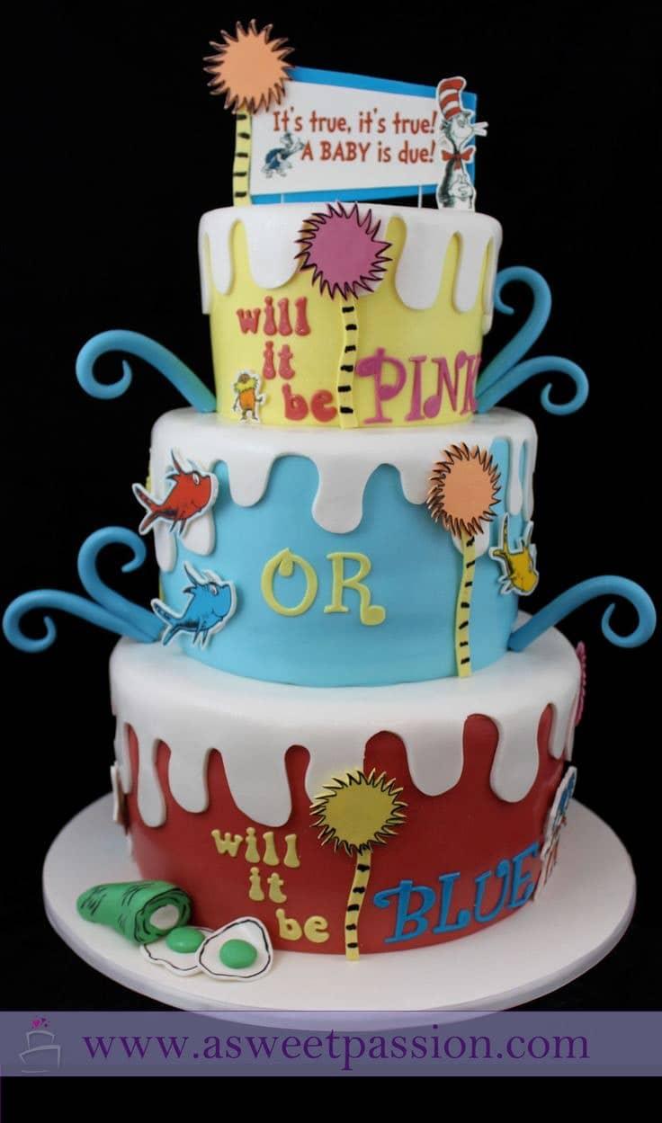 dr seuss gender reveal cake