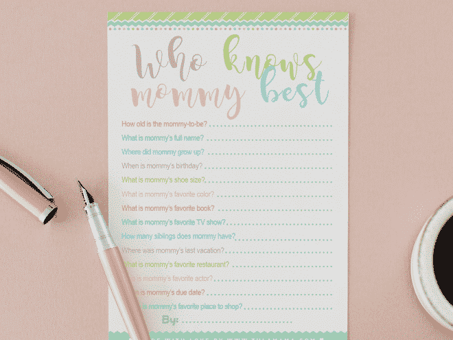Who Knows Mommy Best Free Printable Baby Shower Game