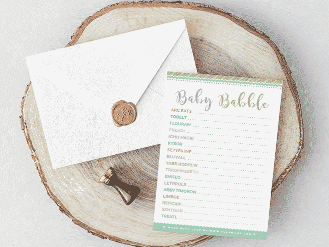Baby Shower Word Scramble Free Printable Baby Shower Game