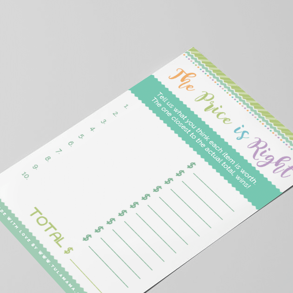 baby shower price is right free printable