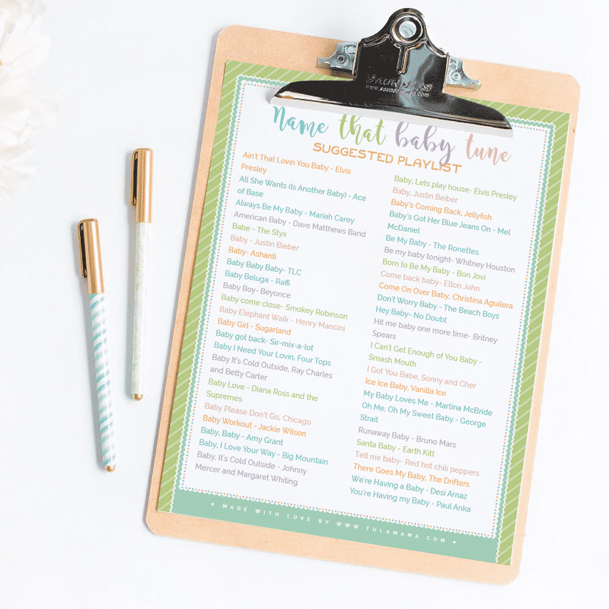 Name That Baby Tune Free Printable Baby Shower Game