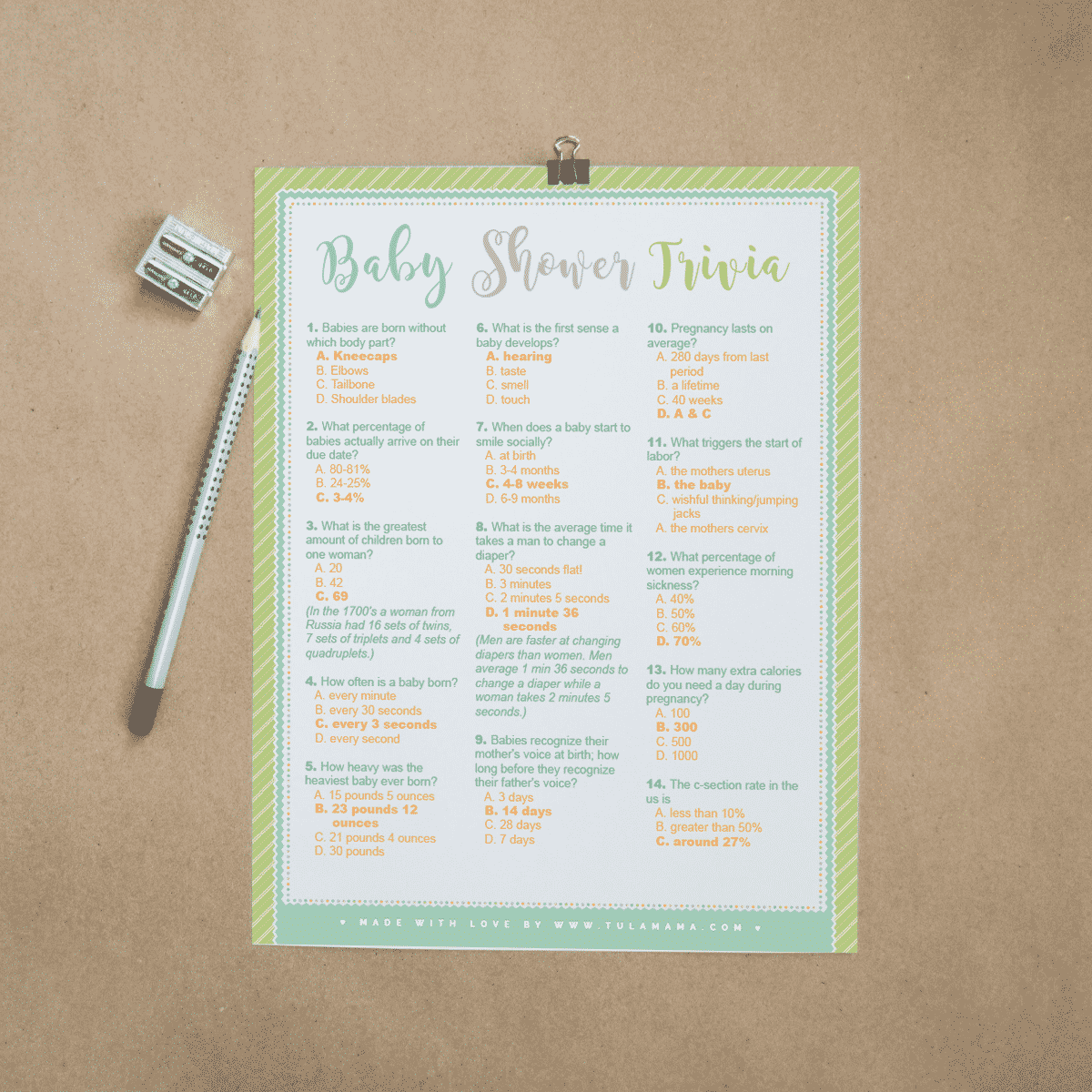 Baby Shower Trivia Free Printable