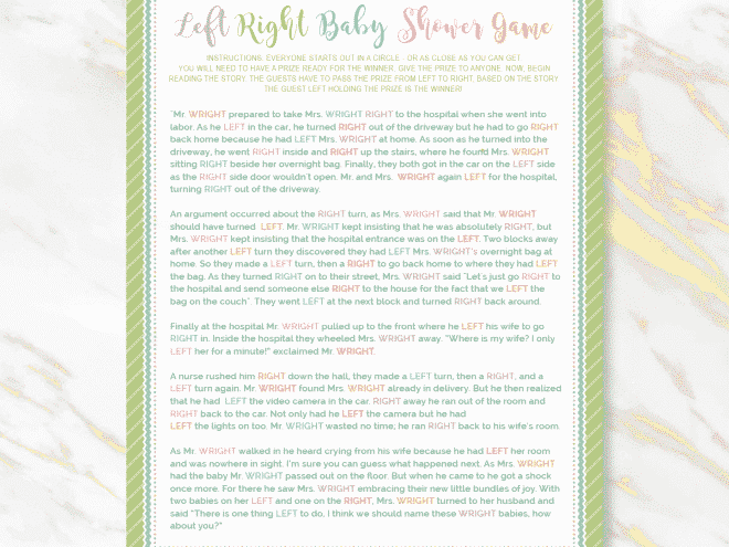 left right baby shower game free printable