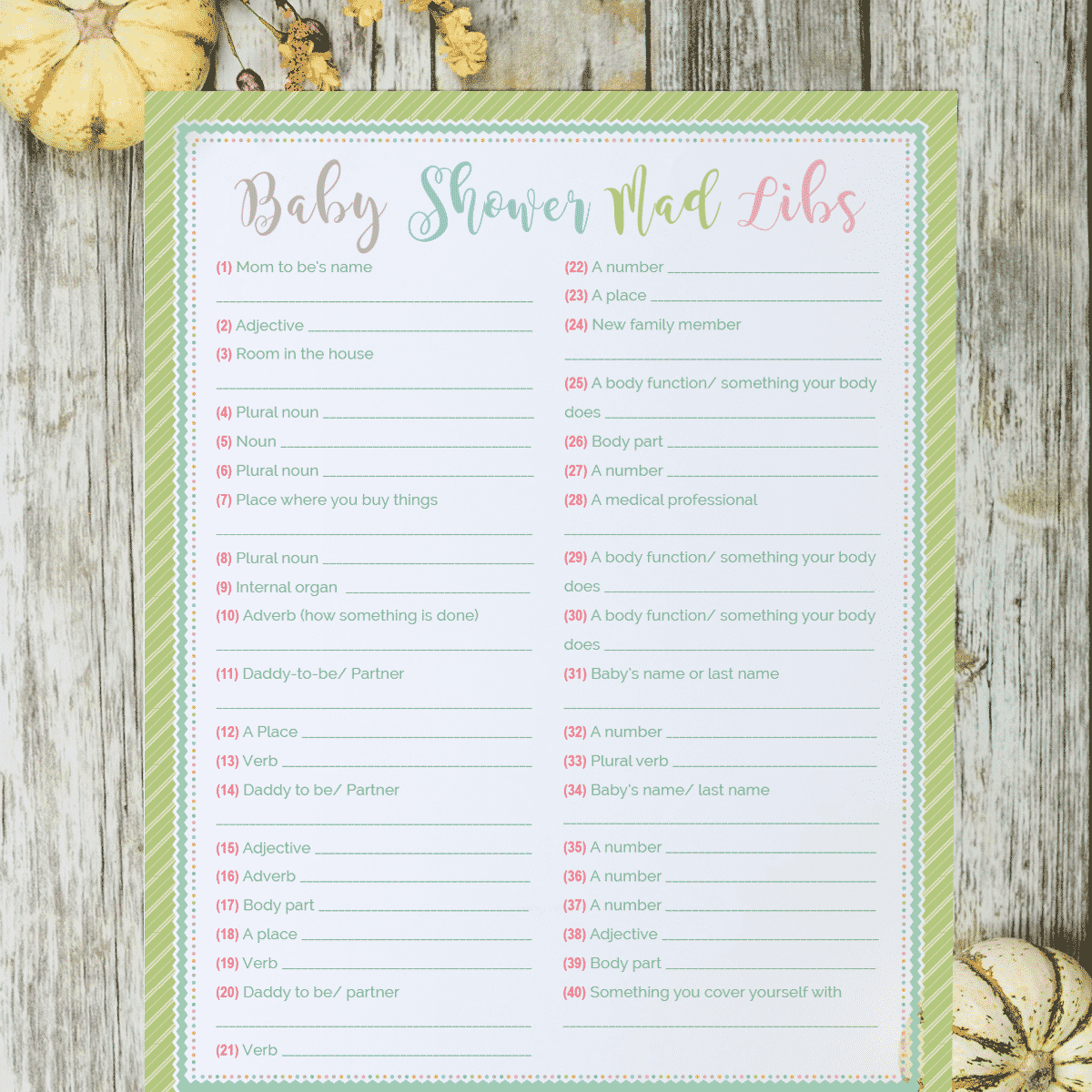 Baby Shower Mad Libs Free Printable