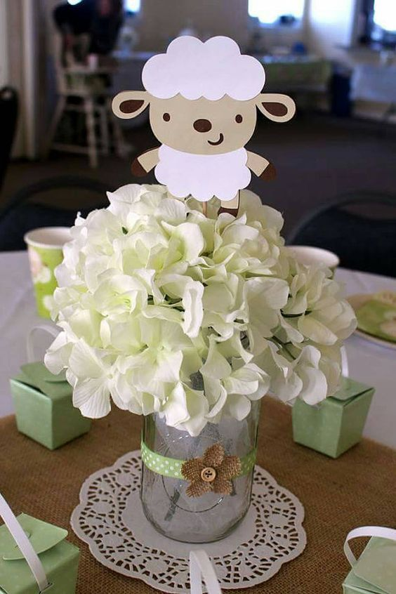 lamb theme baby shower centerpiece