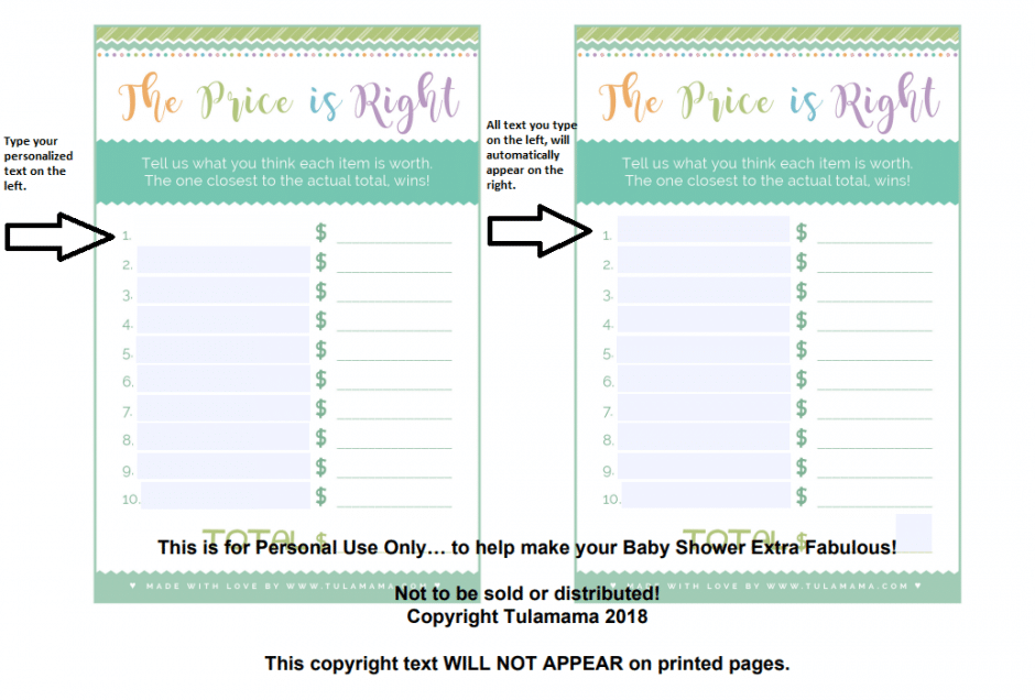 graphic relating to Price is Right Baby Shower Game Free Printable known as Basically The Least difficult, Cutest \
