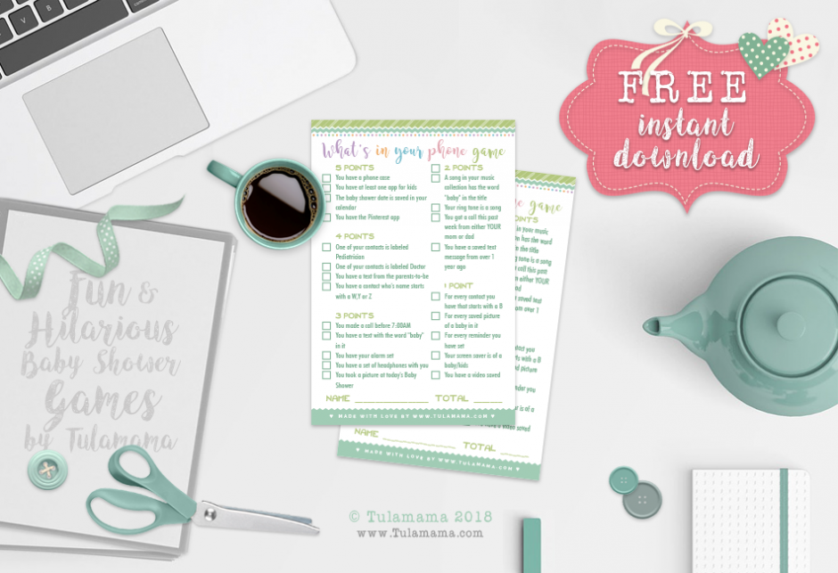 what's in your phone baby shower game free printable