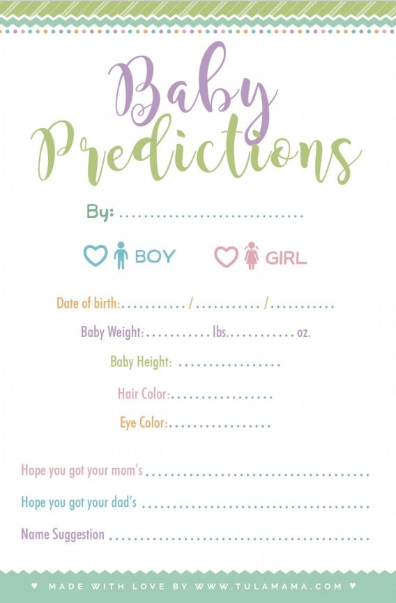 baby predictions game free printable
