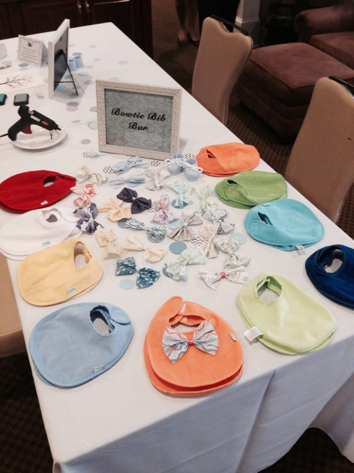 baby shower activities - bow ties on bibs