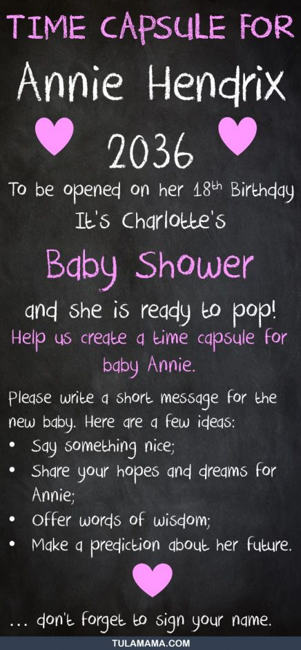 baby time capsule for baby shower activities