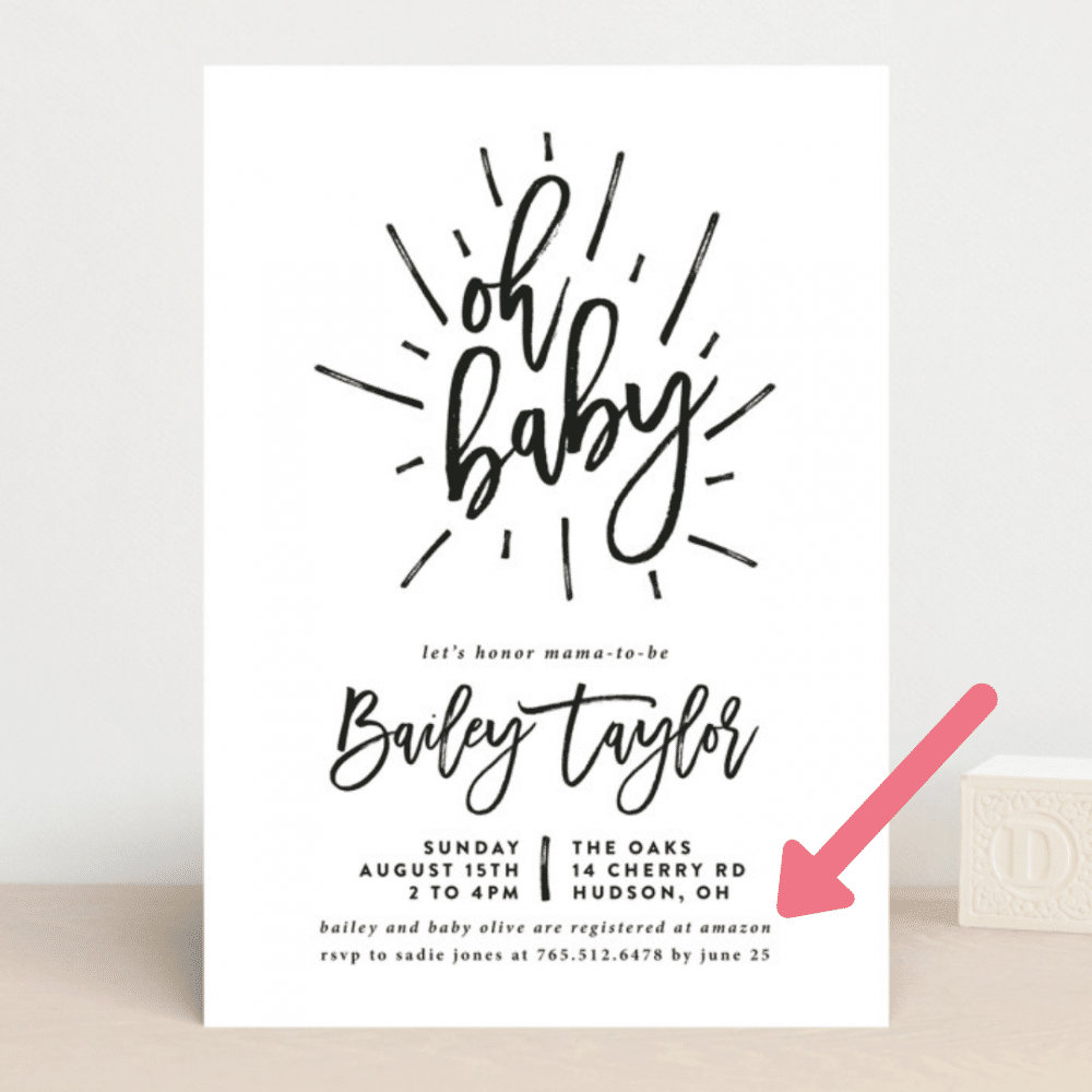 baby registry details on baby shower invitations