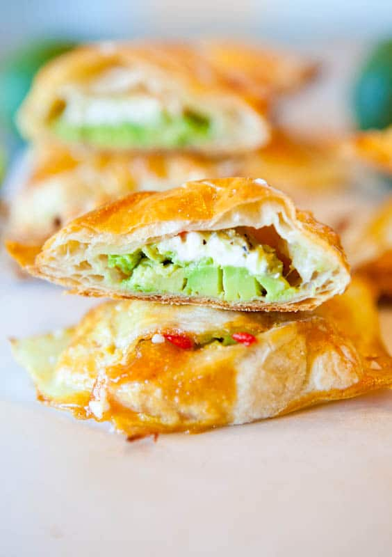 afternoon baby shower food ideas Avocado, Cream Cheese, and Salsa-Stuffed Puff Pastries