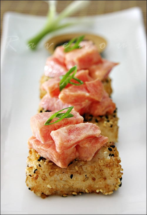 afternoon baby shower ideas Spicy Tuna with Crispy Rice