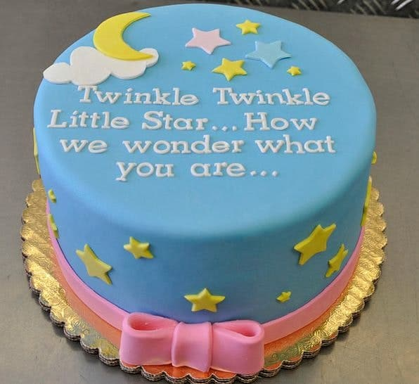Twinkle twinkle little star gender reveal cake ideas