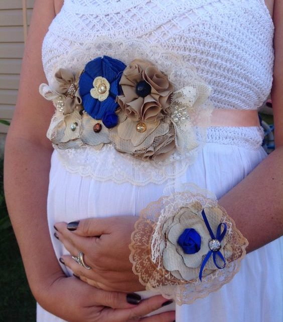 maternity sash belt and baby shower corsage