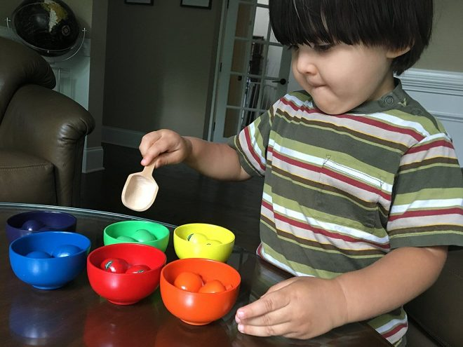 Educational toys can be used to develop gross and fine motor skills, plus learn about sorting, colors and counting.