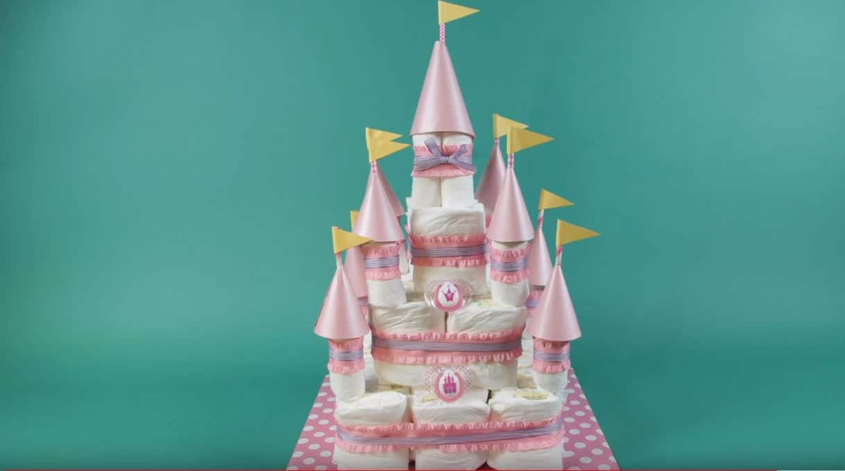 how to make a castle diaper cake