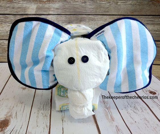 how to make an elephant diaper cake