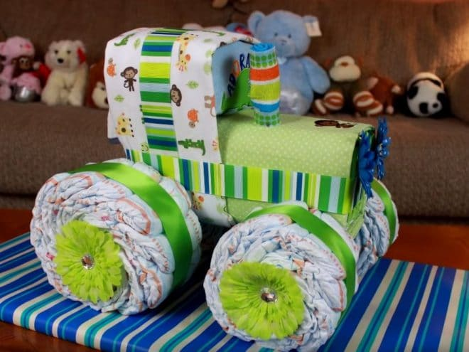 Tractor Diaper Cake