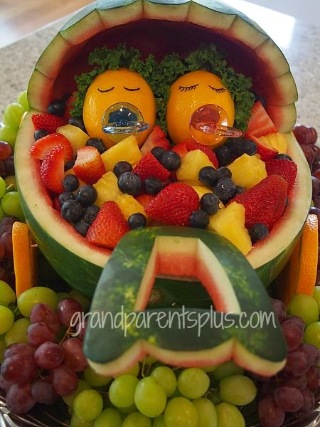 watermelon baby shower carriage for twins
