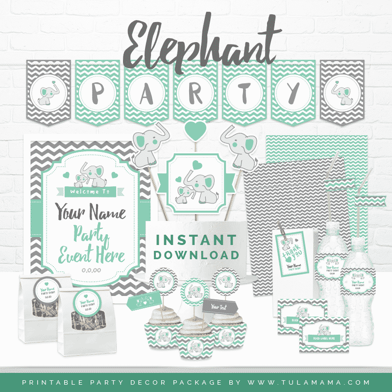 Teal Elephant Theme Party Baby Shower Printables Tulamama