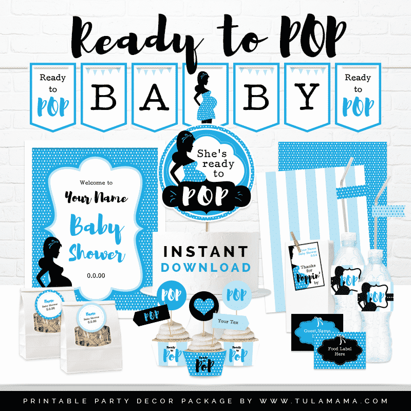 graphic about Baby Shower Printable known as Prepared In the direction of Pop Little one Shower Printables (Blue)