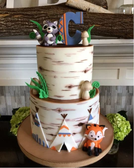 "Looking for Woodland Baby Shower? Click to see decorations for girl or boy showers, invitation ideas, food, centerpieces, table decor, cake and more. Lots of fun ideas for a ""Camp"" theme, or a Woodland Baby Shower Theme. Pin it. #woodlandbabyshower #camptheme"