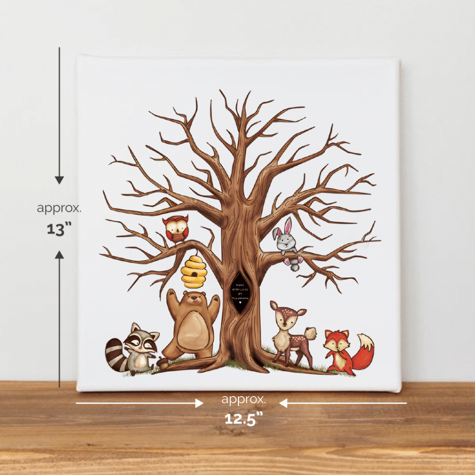 Woodland themed., framed fingerprint tree canvas for baby showers. Use it as a baby shower guest book alternative.