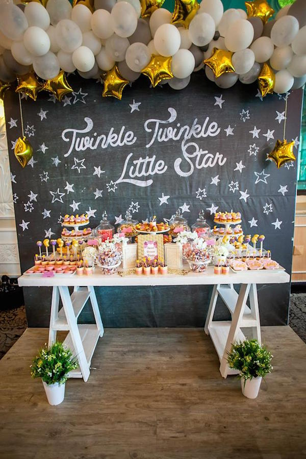 This is a great theme for a girl, boy, neutral or gender reveal baby shower. Click to find great ideas for your invitations, decorations, centerpieces, cake, favors, food, backdrops, printables and more. Pin it. #twinkletwinklelittlestar #babyshower