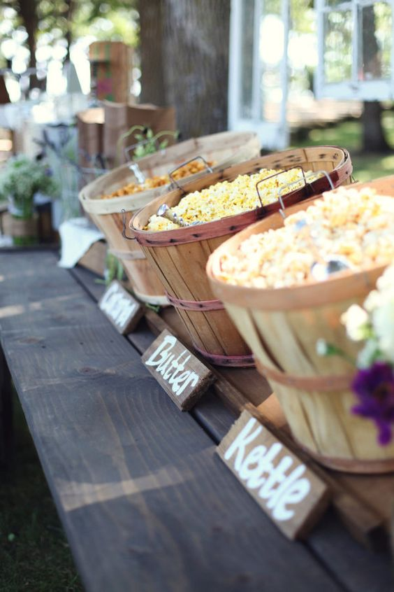 Popcorn bar for parties and weddings