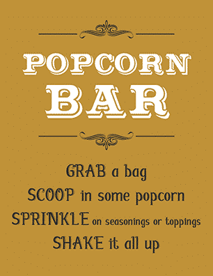 picture about Popcorn Sign Printable named Free of charge Printable Popcorn Signal Designs - Tulamama