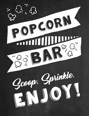 FREE Printable popcorn bar sign ideas. Are you creating your own DIY Popcorn bar? You're going to need popcorn signage. Click to see lots of cute, fun and fresh popcorn bar sign ideas to choose from. These popcorn signs can be used for baby showers, parties, movie nights, for weddings, etc. Pin it. #popcornbar #popcornbarideas