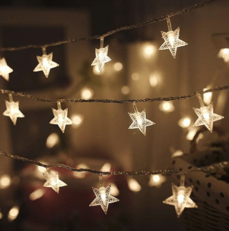 Star shaped string lights for your twinkle twinkle little star themed party or baby shower.
