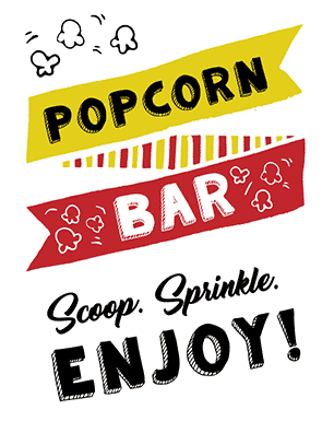 picture regarding Popcorn Sign Printable referred to as Absolutely free Printable Popcorn Indicator Options - Tulamama