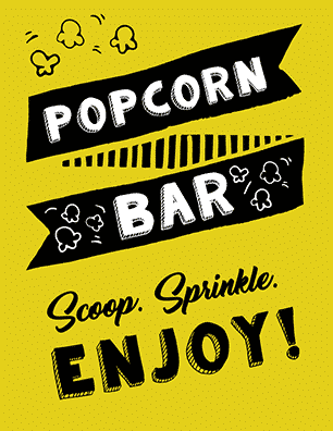 graphic regarding Popcorn Sign Printable titled Absolutely free Printable Popcorn Signal Plans - Tulamama