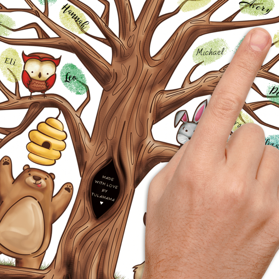 woodland theme fingerprint tree