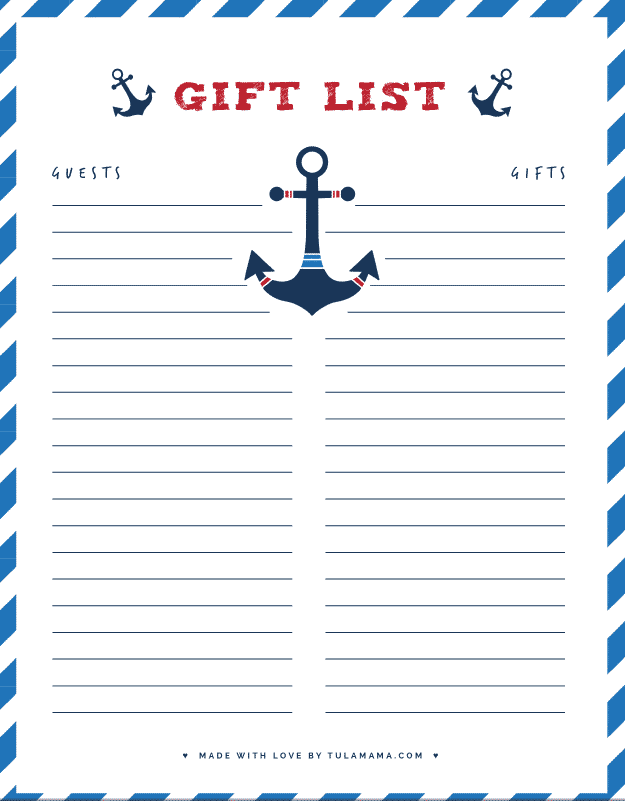 baby shower gift tracker printable free