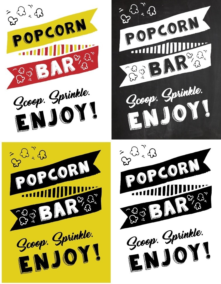 image relating to Popcorn Sign Printable known as Free of charge Printable Popcorn Signal Tips - Tulamama