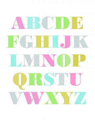 Alphabet Wall Art - Free Printable for preschool children. These a great as a DIY project. They're perfect for the nursery, playroom and even the classroom. You could also offer it as a baby shower gift. Various different designs are available for girls, boys and gender neutral designs. Pin it. #ABCposter #freeprintable abcnursery