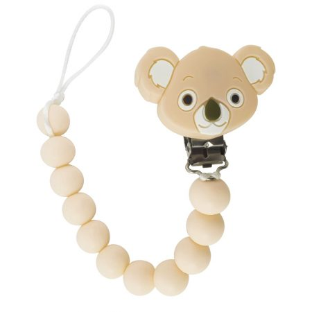 Tulamama's Kuala Bear Pacifier Clip for Boys and Girls, Fits Soothie, Mam, Nuk Pacifiers, Teething Toys and more. Made of Food Grade Silicone and Passed by CPSC.