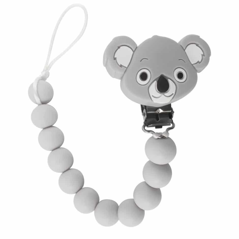 Tulamama's Kuala Bear Baby Pacifier Holders/ Clip for Boys and Girls, Fits Soothie, Mam, Nuk Pacifiers, Teething Toys and more. Made of Food Grade Silicone and Passed by CPSC.