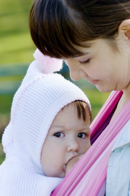 breastfeeding in baby carrier