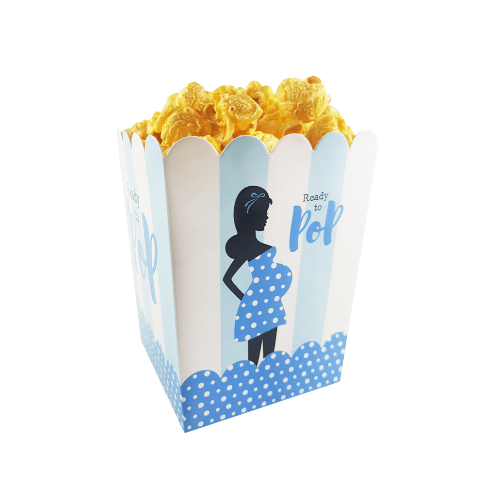 Ready to pop baby shower popcorn favor boxes boy girl