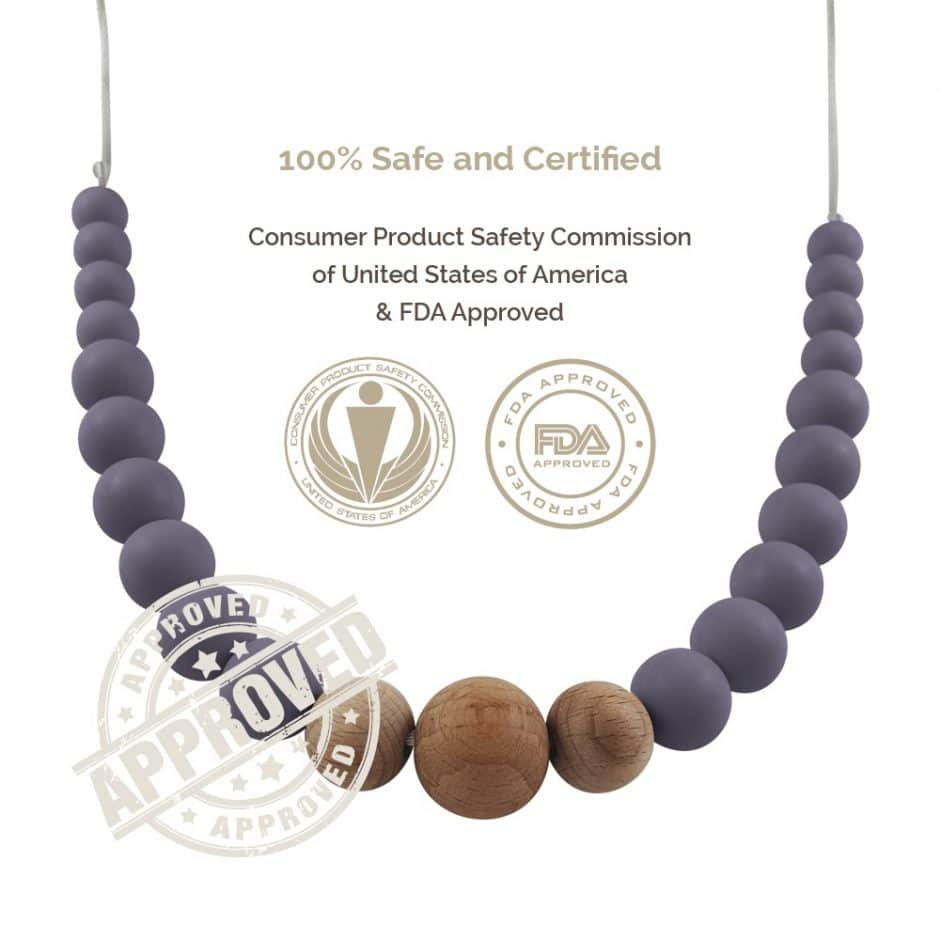 Tulamama Silicone Teething Necklace for Mom to Wear - Offers Teething Relief and Nursing Distraction for Baby - BPA Free, Made in FDA Registered Facility with Food Grade Silicone. Use as a Nursing or Breastfeeding Necklace. Victoria Collection