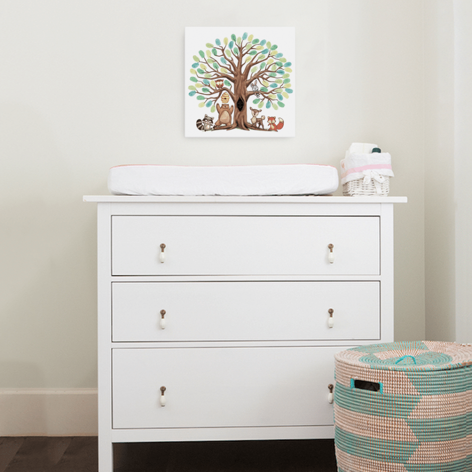 Thumbprint tree / fingerprint tree canvas - a unique guest book alternative. Use it as a wedding fingerprint tree or a baby shower fingerprint tree.