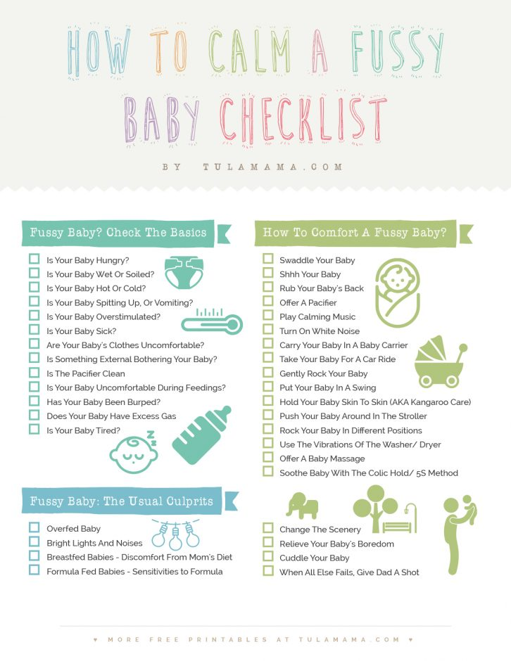 How to calm a fussy baby? Here is a comprehensive list of 37 helpful tips on how to deal with fussy or colicky newborns, whether it be gas, teething or anything else that is bothering your baby. Pin it. #newborns #fussy #colic