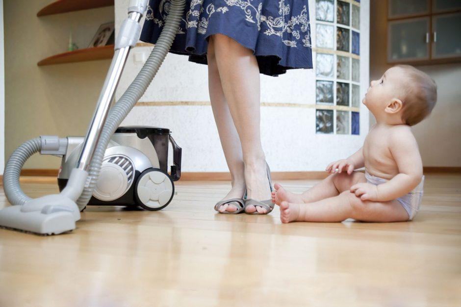 mom vacuuming