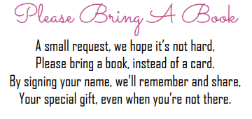 Please bring a book instead of a card free printable pink baby girl design
