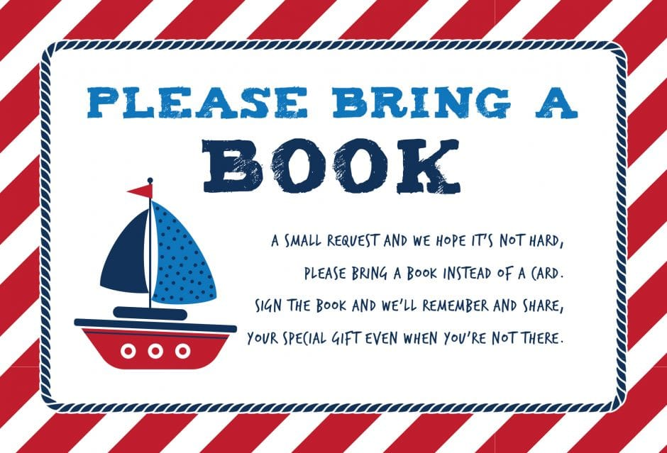 please bring a book instead of a card free printable nautical theme