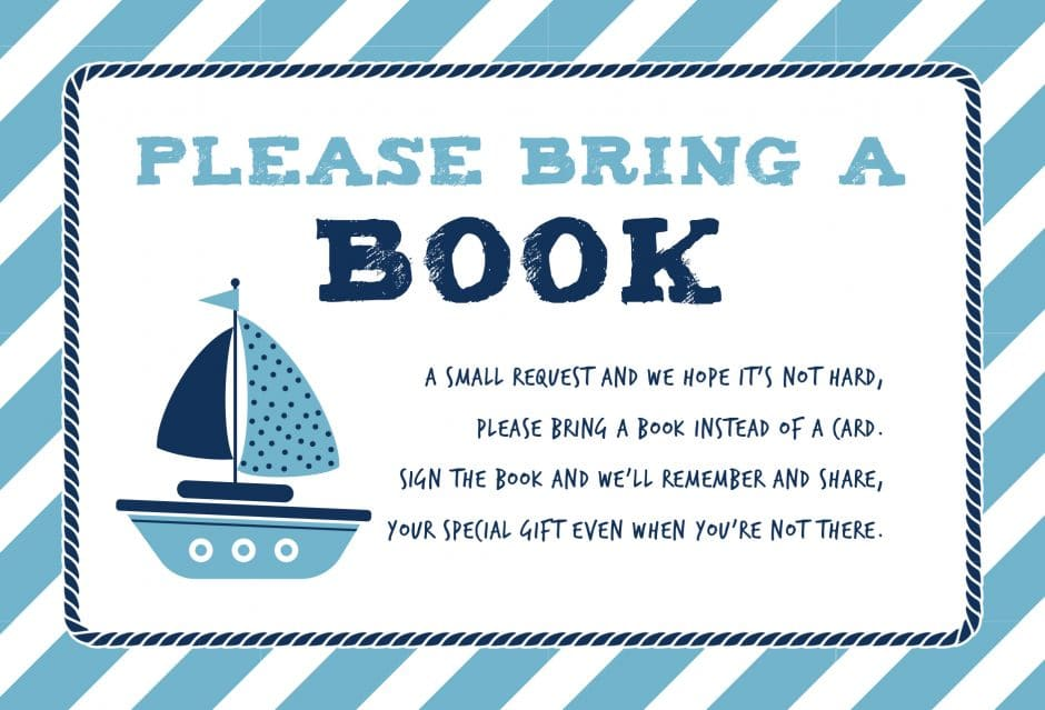 please bring a book instead of a card printable nautical theme